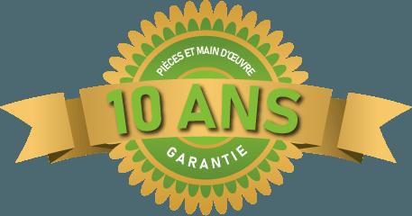 Garantie de 10 ans sur les pièces et la main d'œuvre